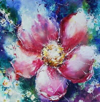 Flower acrylic painting on canvas Pink flower Abstract art Gift woman original