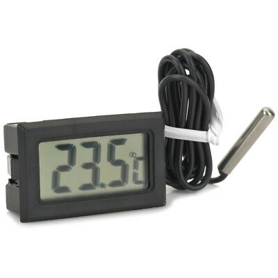Digital Temperature Compact LCD Thermometer with Outdoor Wired Remote Sensor