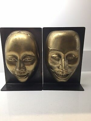 Antique Metal Japanese Mask Bookends of a Male and Female,made in Metal. SIGNED