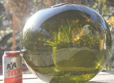 "Large Signed Vintage Japanese Blown Glass Fishing Float Buoy 40"" Tiki Bar green"