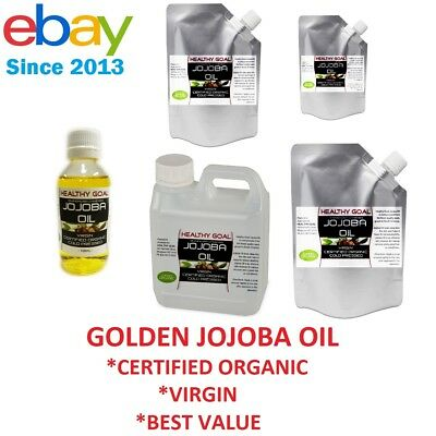 Certified Organic GOLDEN JOJOBA OIL 100% Pure Virgin Cold Pressed Premium Uncut