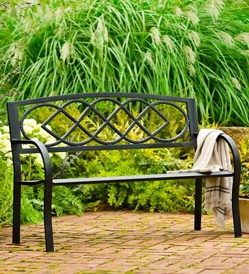 Cast Iron Outdoor Garden Bench with Celtic Knot Design in Black