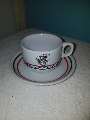 Vintage Sylvester The Cat Coffee Cappuccino Cup Mug Saucer Plate Warner Bros...