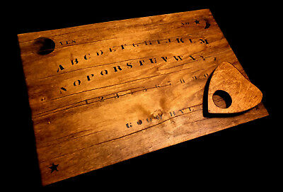 Handmade Distressed Wooden Antique-Style Ouija Spirit Talking Board with Planche