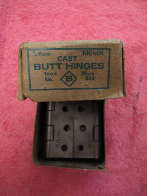 "3 x Pairs 4"" Vintage Cast Iron Butt Hinges (boxed unused)"