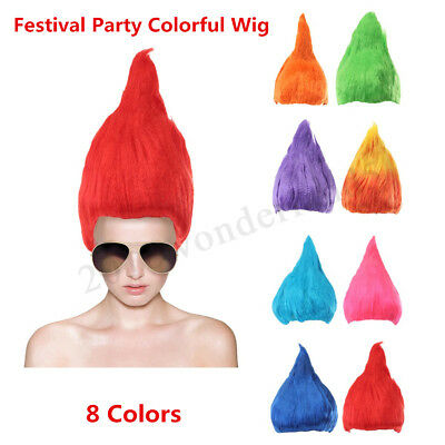 Adult Troll Style Festival Party Colourful Elf/Pixie Wig Cartoon Characters