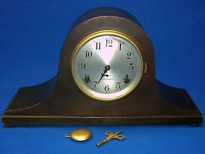 Antique Seth Thomas Large Tambour Style Camel Back Shelf Mantel Clock
