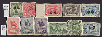 Clean Group of 11 Australian CTO Stamps, 5 X WITH GUM & 6 X NO GUM
