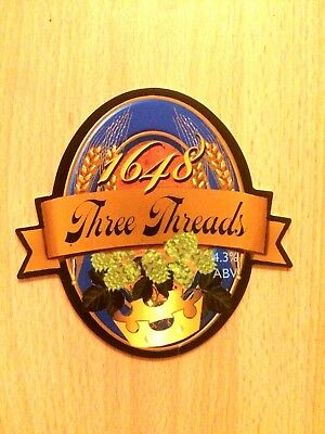 Three Threads (Origin of Porter) Ale Beer Pump Clip: 1648 Brewery Lewes NEW