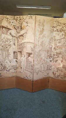 Vintage Folding Tapestry Screen Some Damage See Description Collect IP7