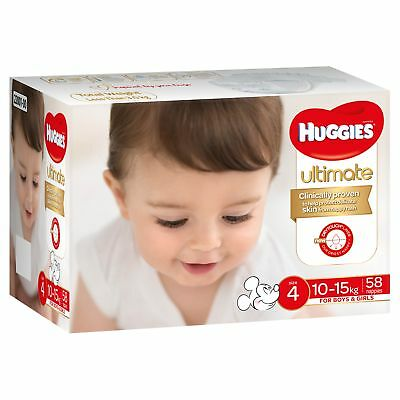 Huggies Ultimate Nappies - Jumbo - Toddler - Size 4/10-15kg - 58 Pack