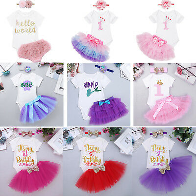 Baby Girls First 1st Birthday Tutu Outfits Dress Romper Cake Smash Photo Clothes