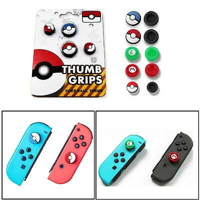 4PCS Silcone Thumb Grips Caps For NS Switch Joy-Con Controller &Poke Ball Button