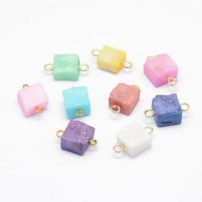 10x Electroplated Natural Druzy Square Agate Link Gold Plated Brass Finding 18mm