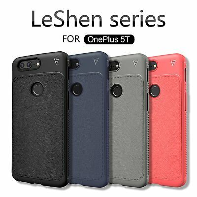 LENUO Dermatoglyph Series Faux Leather TPU Case Cover for Oneplus 5T