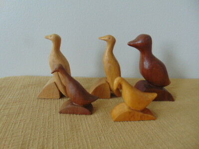5 Hand Carved Wooden Figurine Wood bird signed T Folk Art mixed