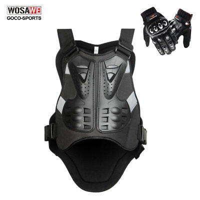 Motorcycle Armor Chest Vest Racing Touch Screen Hard Armour Gloves Bike Sports