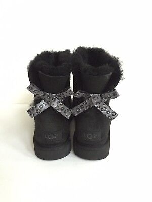 6d1296148c9 UGG CLASSIC MINI Bailey Bow Ii Exotic Black Boot Us 9 / Eu 40 / Uk 7 ...