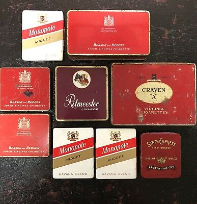 Vintage Tobacco Tins State Express Craven A Ritmeester Benson & Hedges Monopole