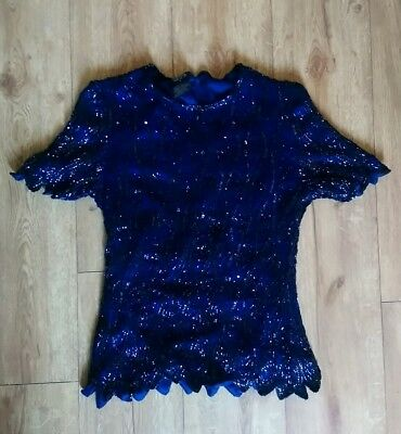 VINTAGE 80's Blue Sequin Short Sleeve Top by RARE UK M 10 12