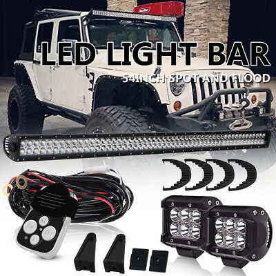 "54""/56INCH LED Light Bar Spot Flood Offroad For Jeep Dodge Ram 1500 VAN TRUCK 52"