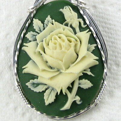 Cream Rose Cameo Pendant .925 Sterling Silver Jewelry Green Resin