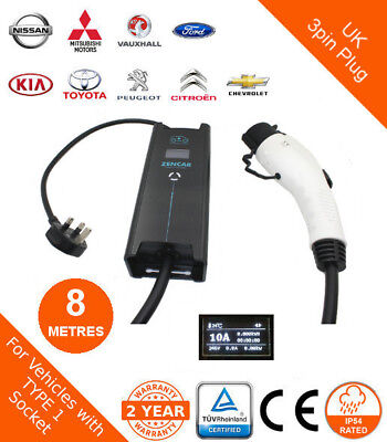 ZEN Electric Vehicle Portable Charger - Type 1 to UK 3pin plug - 8 metres