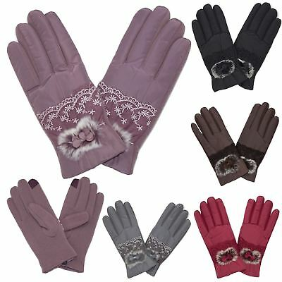 New Women's Fluffy Bow Detail Satin Lace Two Tone Stylish Cosy Winter Gloves