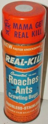 Vtg Tin Litho MCM Advertising Can REAL-KILL Roach/Ant/Bug Spray Insecticide '60s