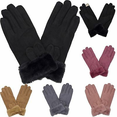 New Women's Basic Plain Fur Cuff Cosy Winter Faux Suede One Size Gloves