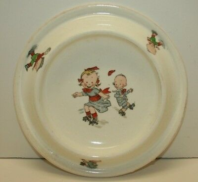 Antique Royal Baby Porcelain Plate Children Skating and Playing ball