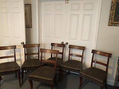 Matching set of 6 antique Victorian Upholstered dining chairs