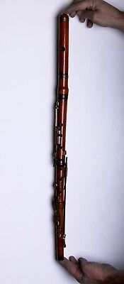Antique Wooden Brass and Horn Flute 19.c.