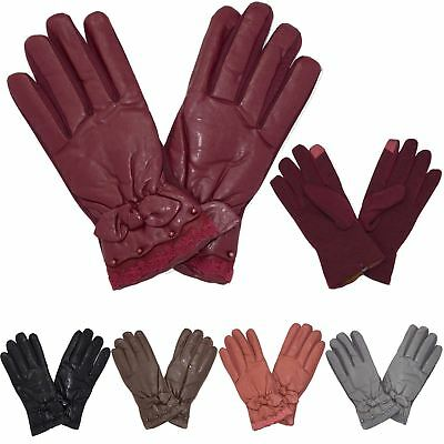 New Women's Winter Faux Leather Bow Cuff Detail One Size Cosy Warm Gloves