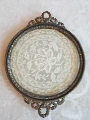 Round ANTIQUE VICTORIAN DRESSER TRAY w/ FRENCH TABOUR LACE Inset- J.B.