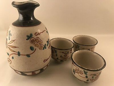 Japanese Sake Bottle and 3 Cups - Made in Japan - Authentic Japanese Pottery