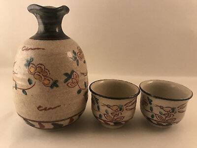 Japanese Sake Bottle and 2 Cups - Made in Japan - Authentic Japanese Pottery