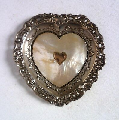 Antique Sterling Silver MOP Love Heart DISH. 1893 Levi & Salaman. Valentines