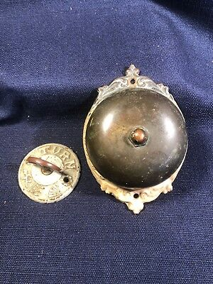 ANTIQUE 20th CENTURY VICTORIAN CAST AND BRASS THUMB TWIST DOOR BELL WORKS