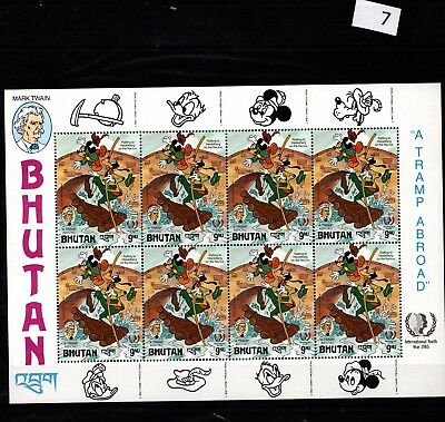 # 8X Bhutan - Mnh - Disney - Cartoons - Mickey - Mark Twain - Full Sheet