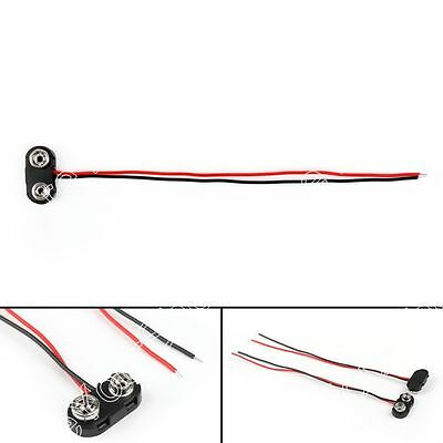 20Pcs PP3 9V Batería Conector Cobre Clip End Entry Tinned Cable Leads 150mm