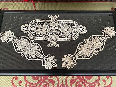 """3 Large Hand Made Gros Point Needle Lace Doilies Vintage Good Cond. 13"""" by 22"""""""