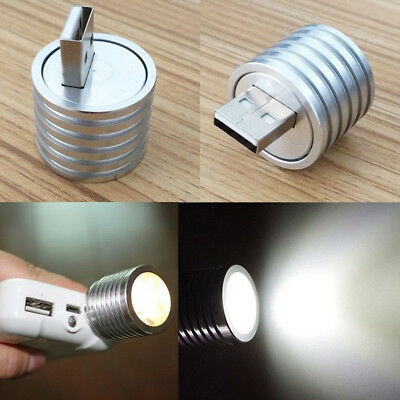 Portable Aluminum 3W Mini USB LED Lamp Socket Spotlight Flashlight White-Light
