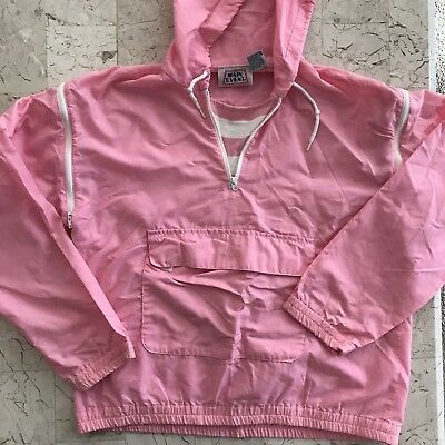 Main Event Ladies Vintage 80s Pink Track Suit Removable Zip Sleeves Size M