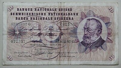 Vintage 1977 Swiss 10 Franc Note, Paper Money, Circulated