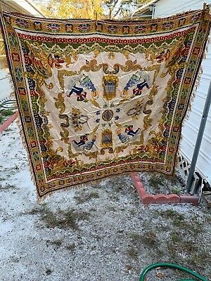 "Antique Spanish / Moorish Jewel Toned Tapestry Wall Hanging 60"" Square + 2"" Frin"