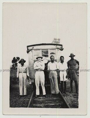Mixed Group Of Workers In Front Of Railway Wagon (Vintage Photo B/W Africa 1940s