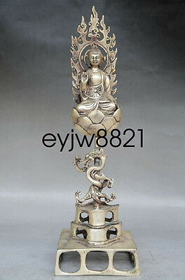 Chinese Old Handwork Tibet Silver Carved Buddha & Dragon Statue Mr