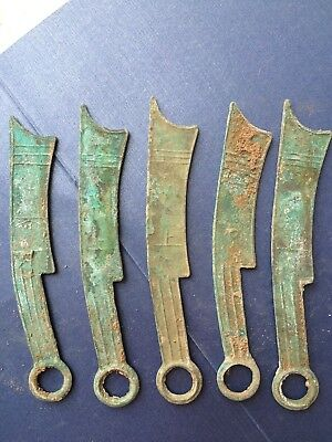 Full Set Five Ancient China Zhan Dynasty Rust Bronze Currency Knife-shaped Coin