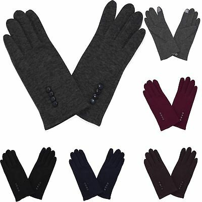 New Stylish Basic Faux Suede Button Detail Casual Cosy One Size Winter Gloves